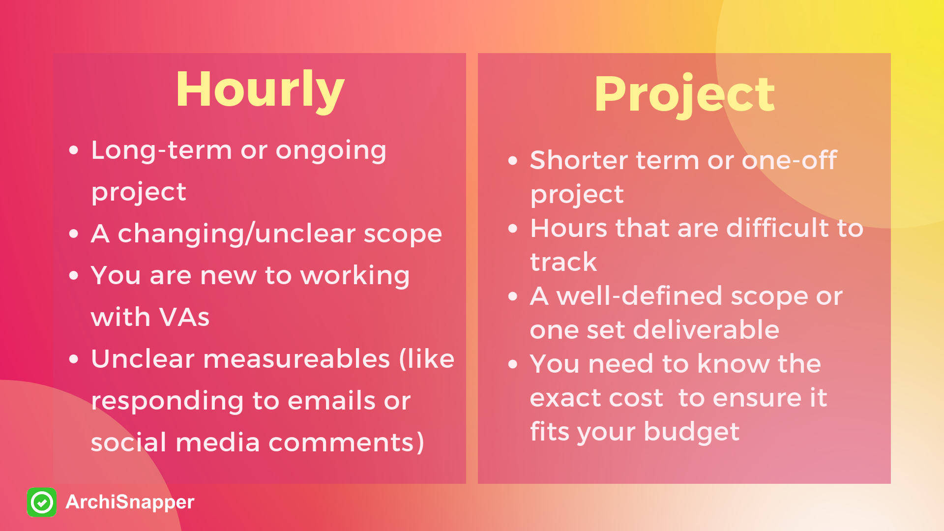 "Hourly vs Project ""A Guide to Hiring a Virtual Assistant for your Architecture or Contracting Business"" 