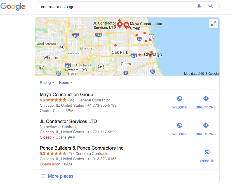 google search for contractor firm chicago via archisnapper