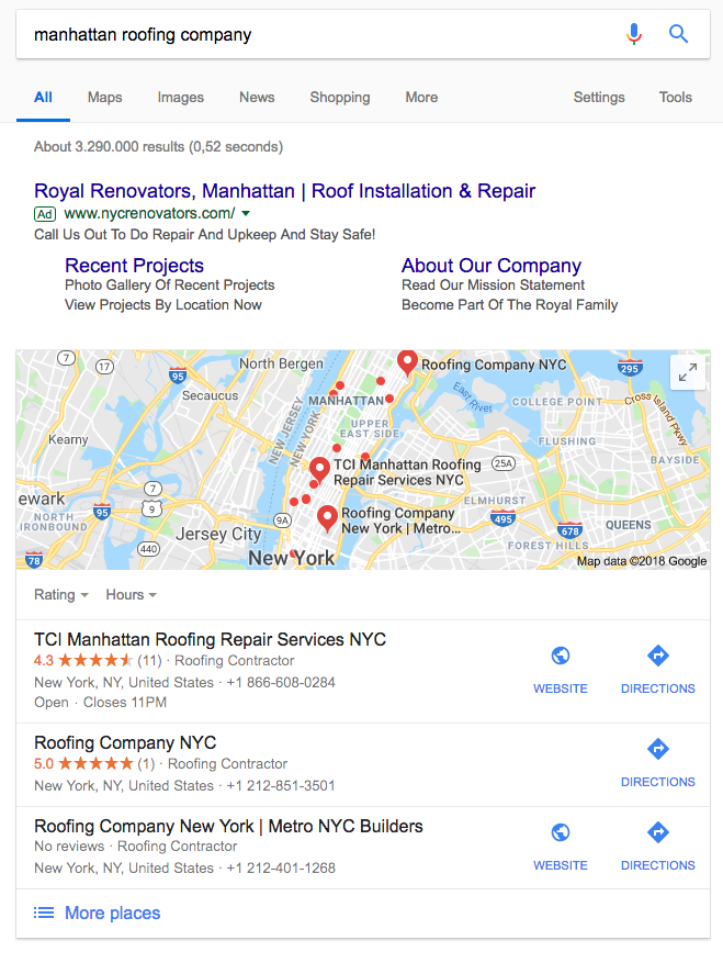 google search local pack via blog archisnapper