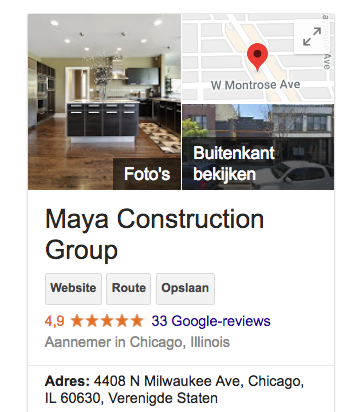 maya construction group google my business page via archisnapper