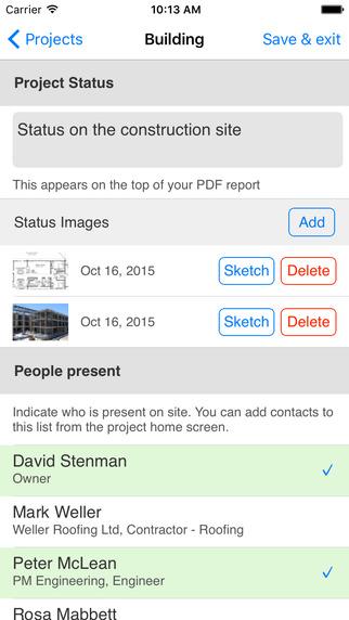 ArchiSnapper App - new report screen