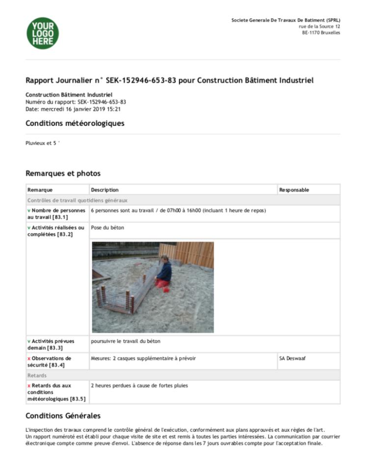 Exemple De Rapport De Travail Journalier - Exemple de Groupes