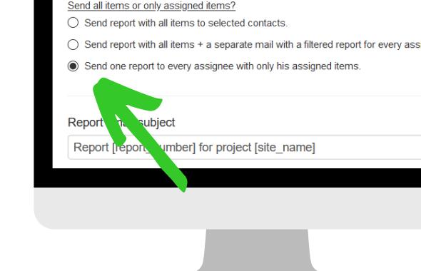 envoyer des rapports filtrés