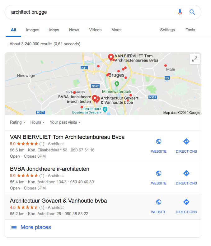 archisnapper als architect op pagina 1 in google komen