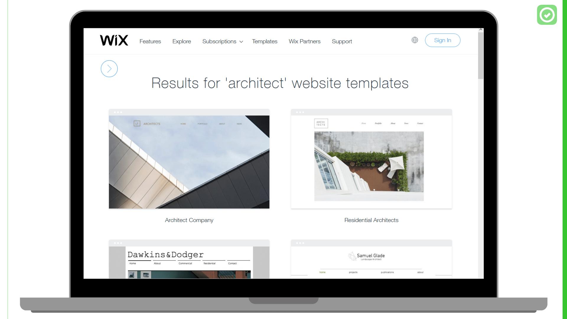 Wix heeft enkele templates die specifiek voor architecten ontwikkeld werden | ArchiSnapper