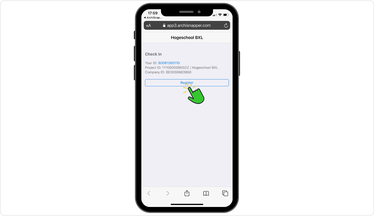 checkinatwork registratie met de archisnapper app op de werf
