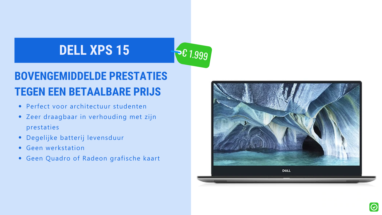 dell xps 15 beste laptop voor architectuur student
