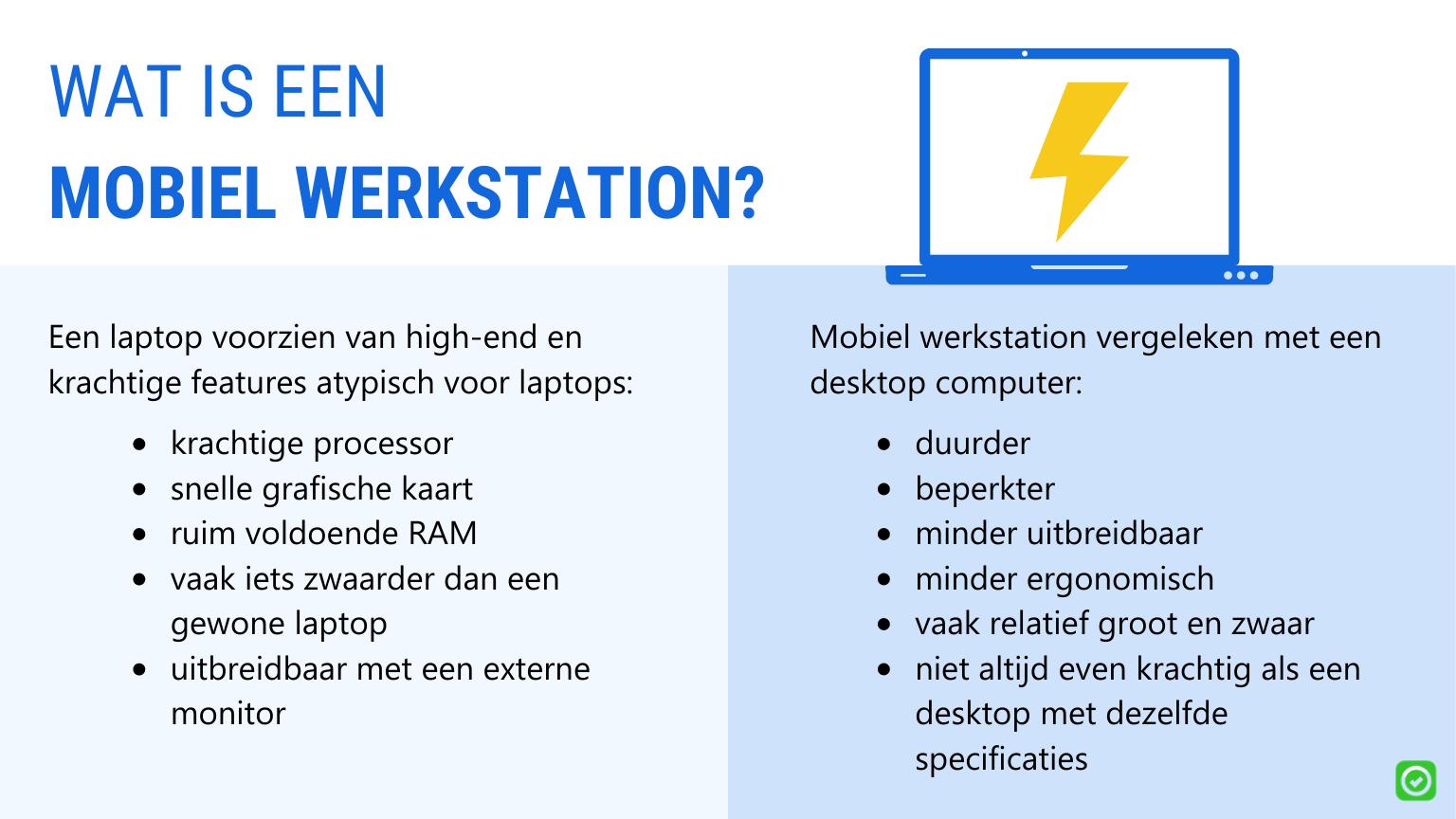 verschil tussen laptop en mobiel werkstation