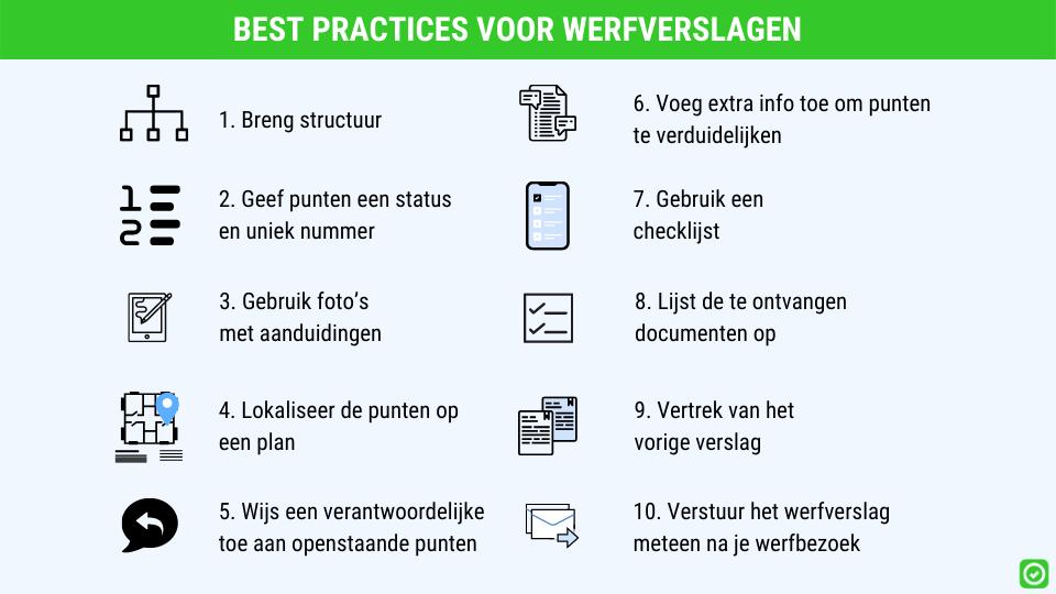 best practices voor opstellen van werfverslagen