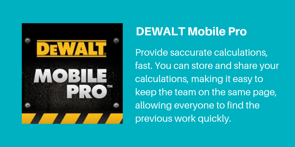 1 DeWalt Mobile Pro | Archisnapper Presents the Best Apps for Contractors 2019