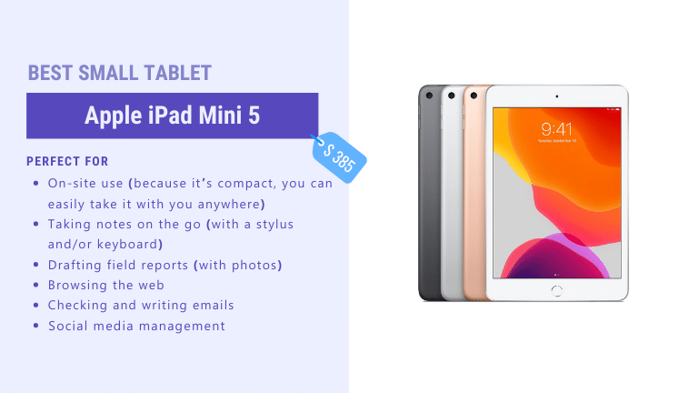 best small tablet for architects and contractors apple ipad mini 5