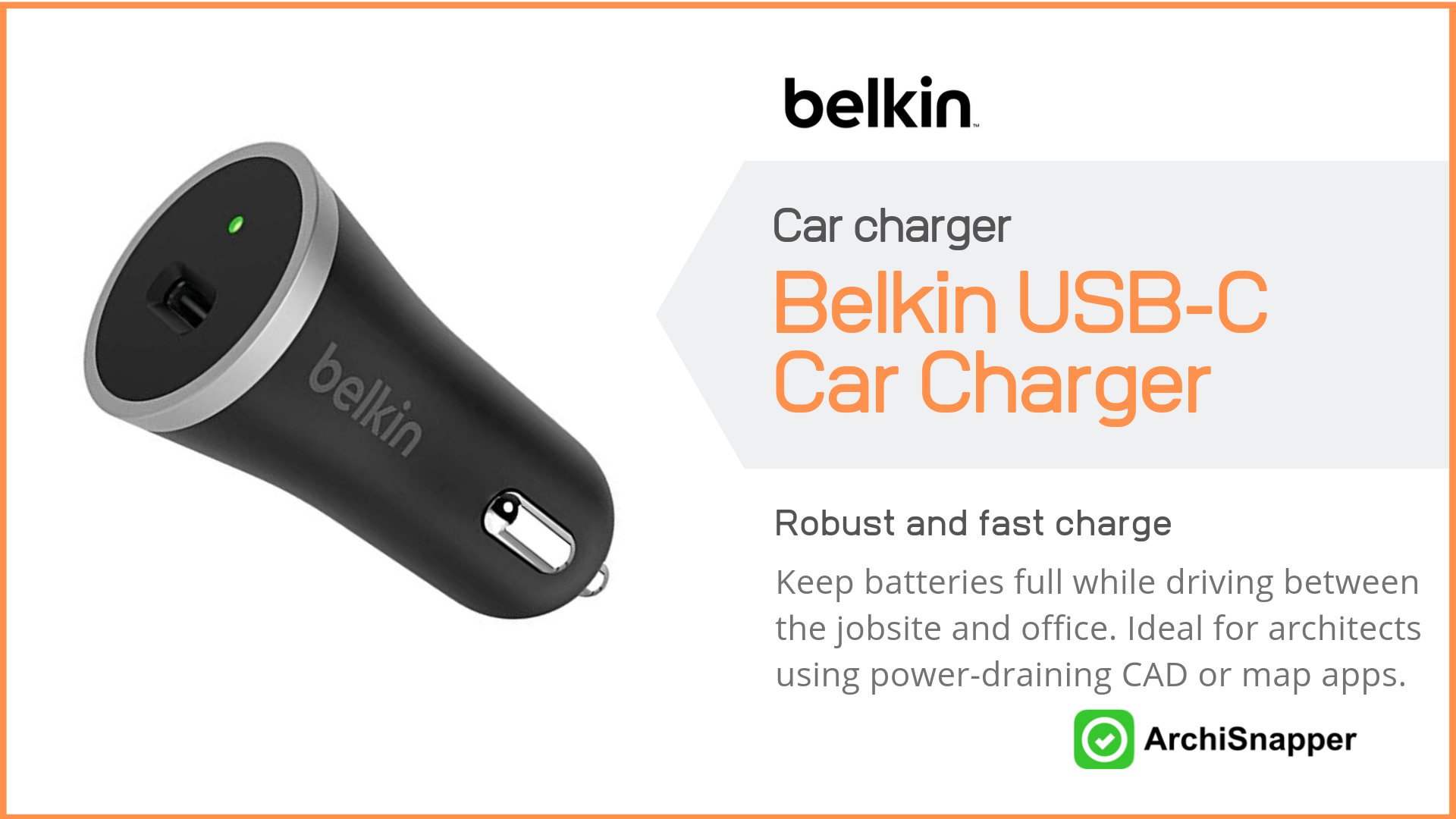 Belkin USB-C Car Charger | Top Tech for Architects Presented by Archisnapper.