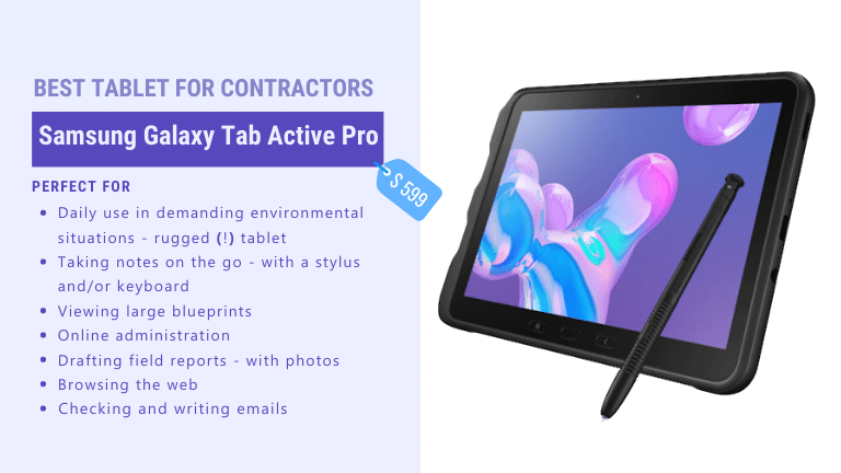 best rugged tablet for contractors samsung galaxy tab active pro