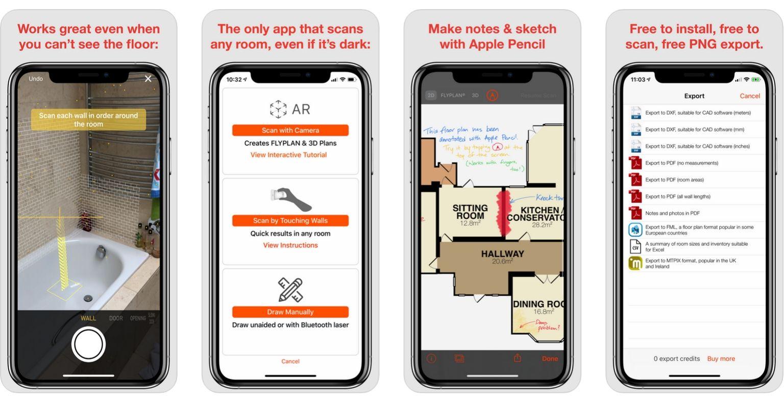 بهترین برنامه ها برای معماران - عکس صفحه از RoomScan Pro | وبلاگ ArchiSnapper