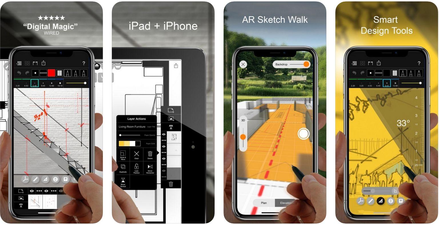 بهترین برنامه ها برای معماران - Morpholio Trace - عکس صفحه آیفون | وبلاگ ArchiSnapper