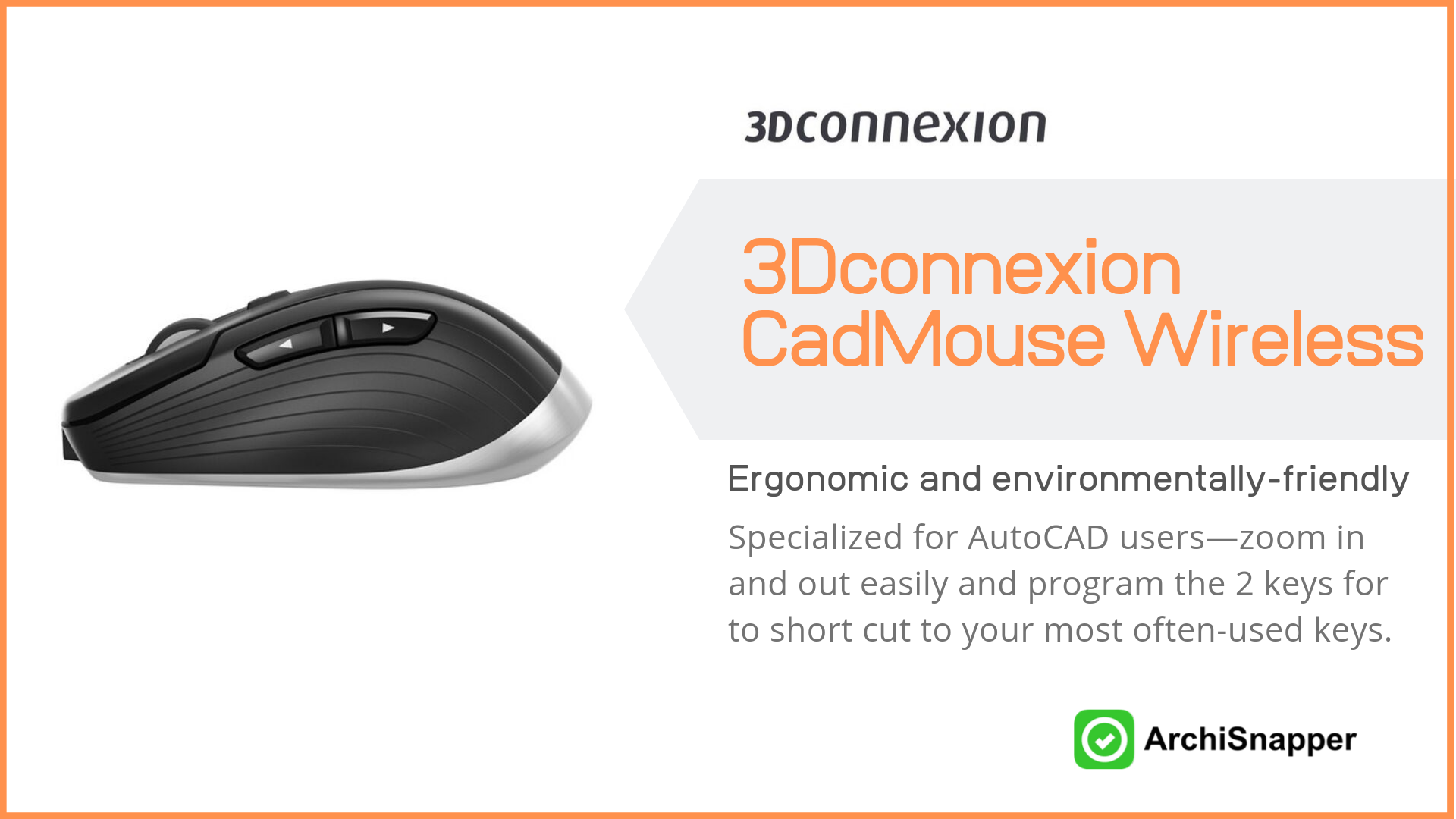3Dconnexion CadMouse Wireless | List of the 15 must-have tech tools and accessories ideal for architects presented by Archisnapper