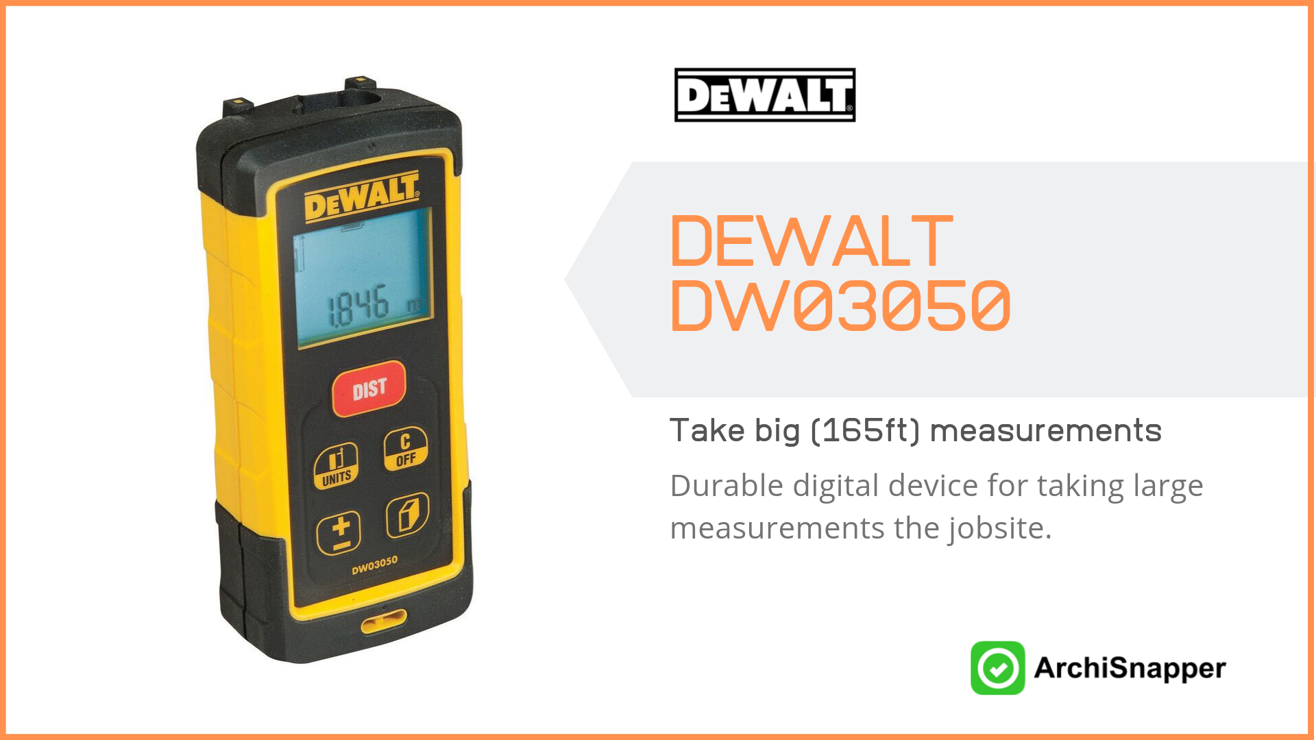 The DEWALT DW03050 | List of the 14 must-have tech tools and accessories ideal for architects