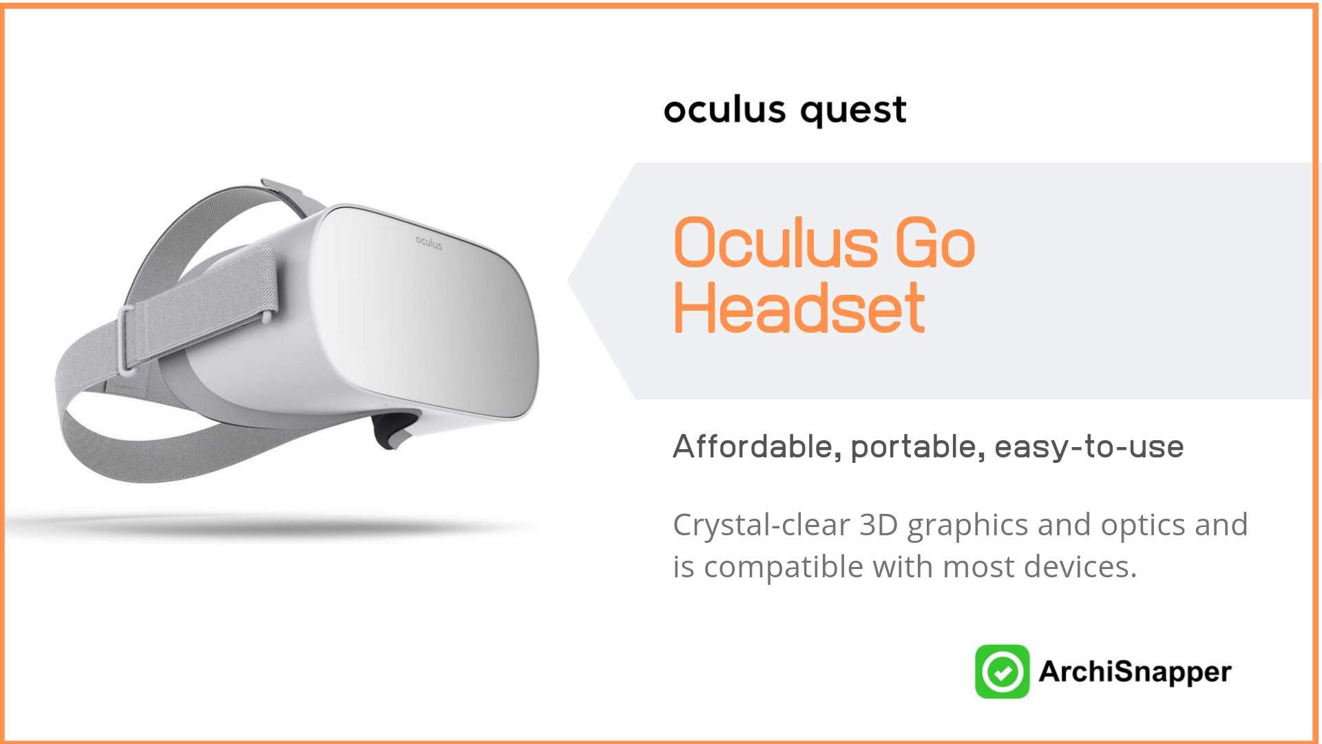 Oculus Go Standalone Virtual Reality Headset | List of the 15 must-have tech tools and accessories ideal for architects presented by Archisnapper