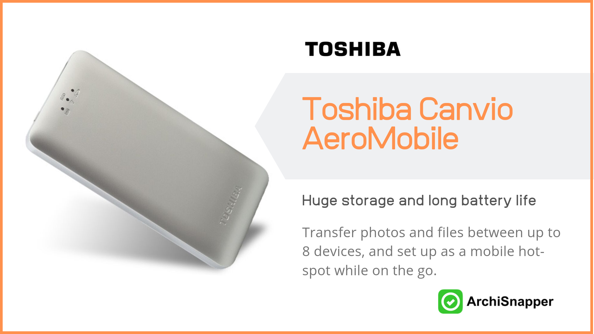 Toshiba Canvio AeroMobile | List of the 15 must-have tech tools and accessories ideal for architects presented by Archisnapper