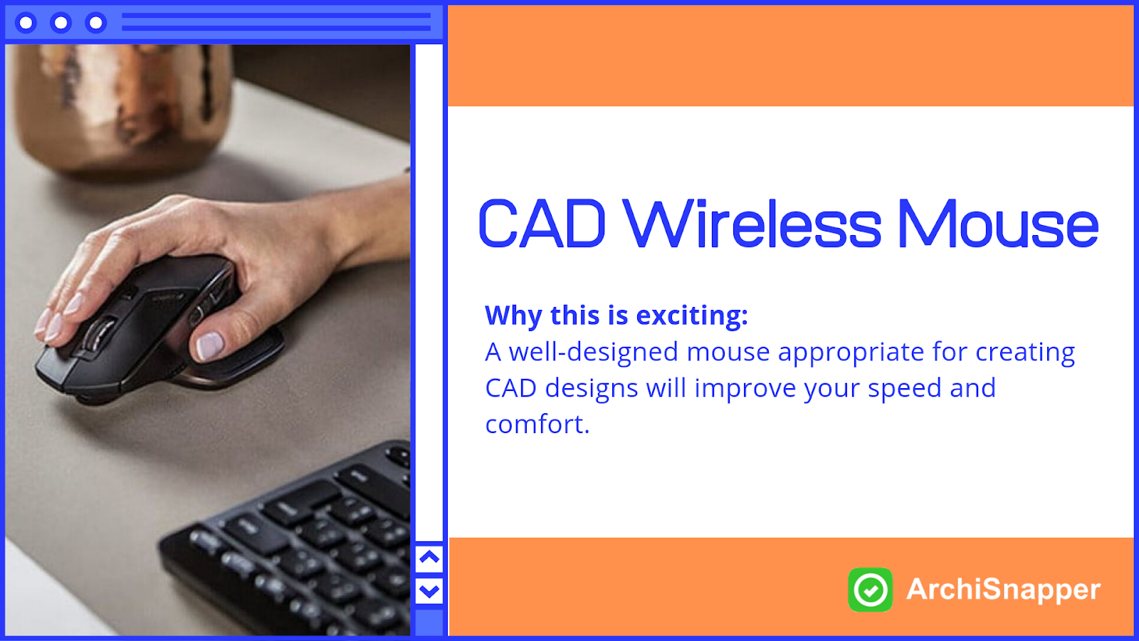 CAD Wireless mouse | List of the 15 must-have tech tools and accessories ideal for architects presented by Archisnapper.