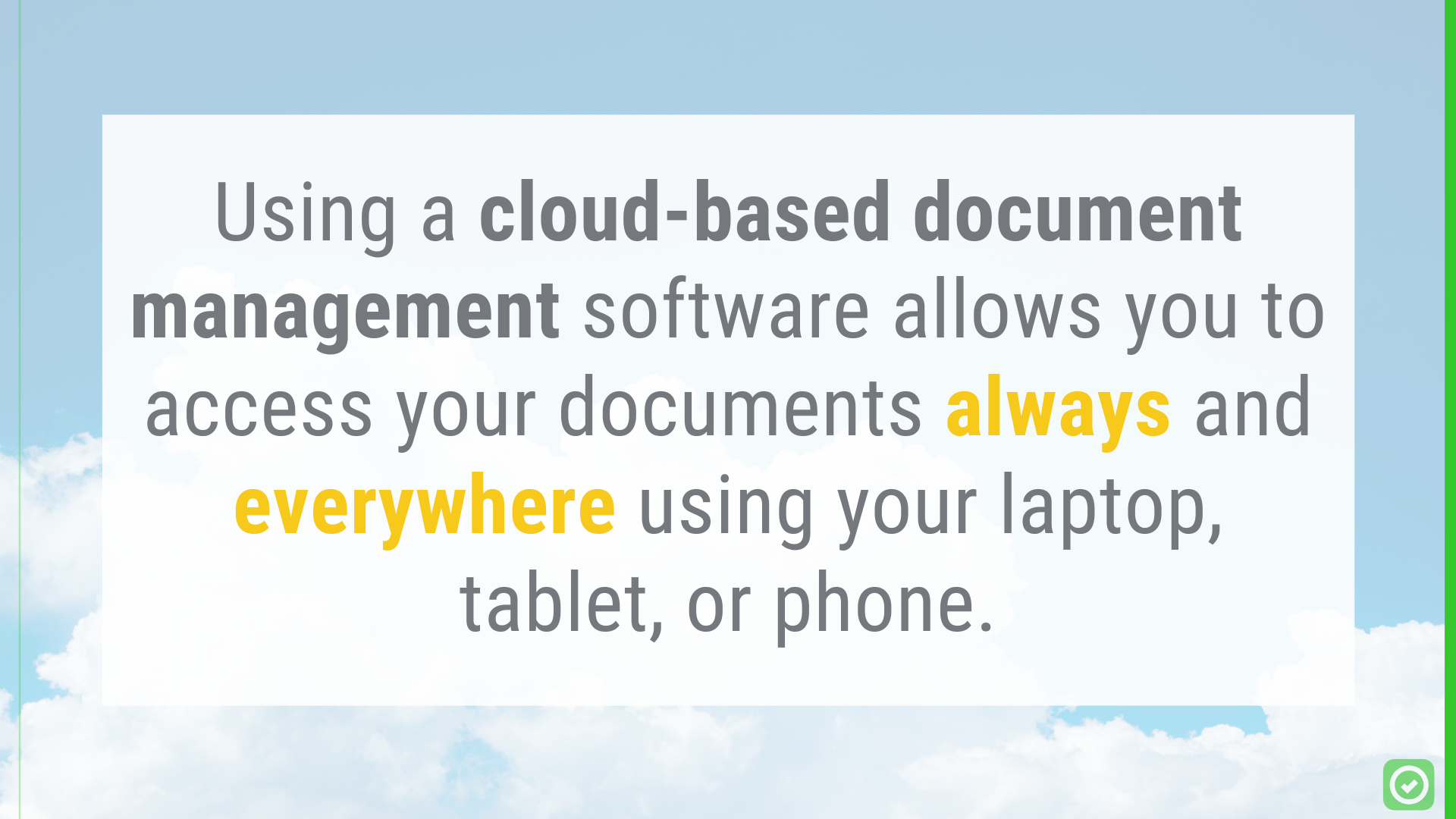 Using a cloud-based document management software (like Google Drive or Dropbox) allows you to access your documents always and everywhere using your laptop, tablet, or phone. | ArchiSnapper