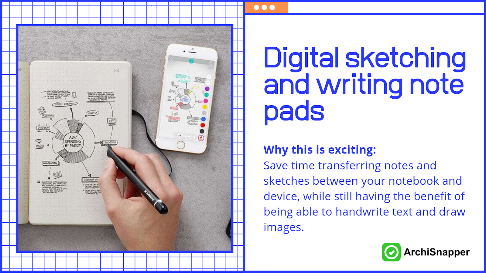 Digital sketching and writing note pads | List of the 15 must-have tech tools and accessories ideal for architects presented by Archisnapper