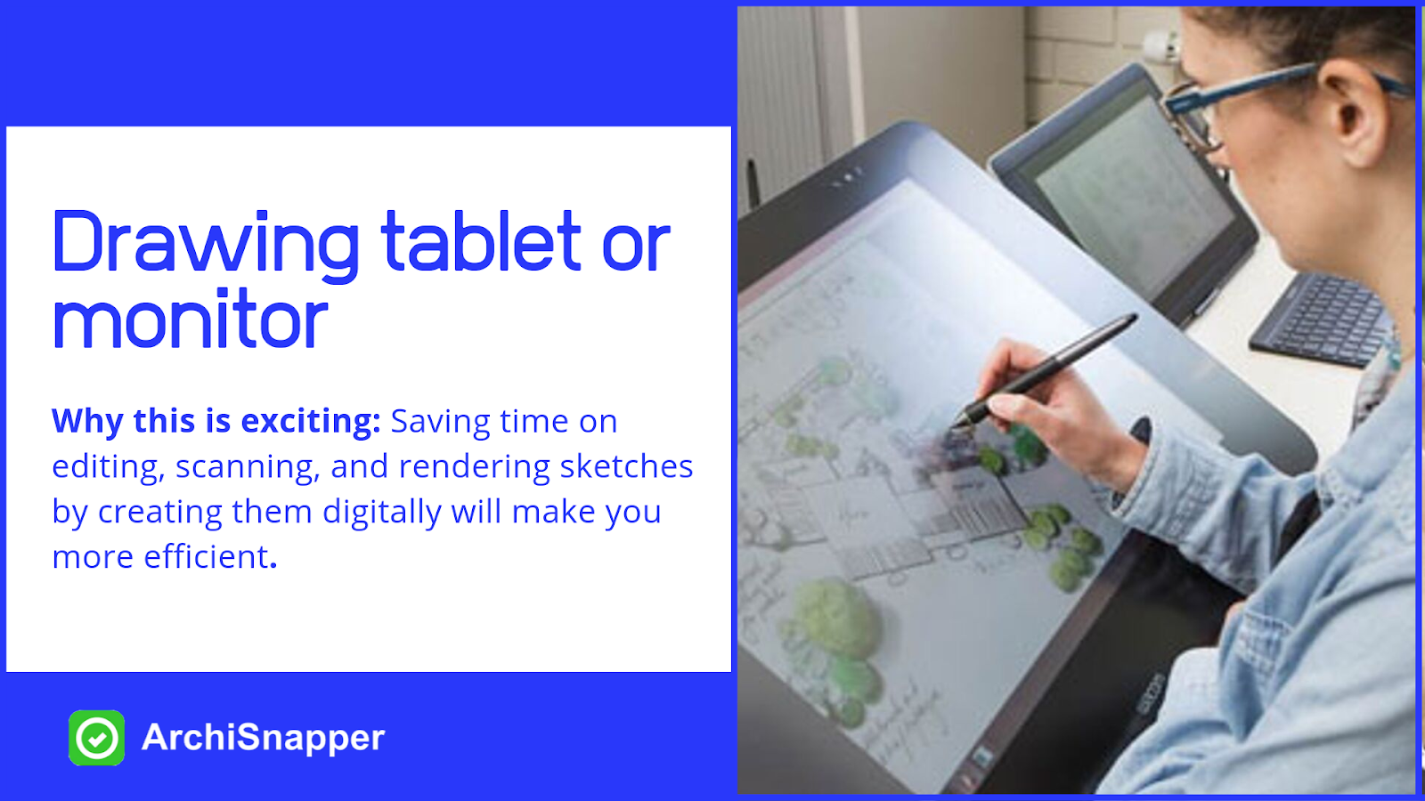 Drawing tablet or monitor | List of the 15 must-have tech tools and accessories ideal for architects presented by Archisnapper.