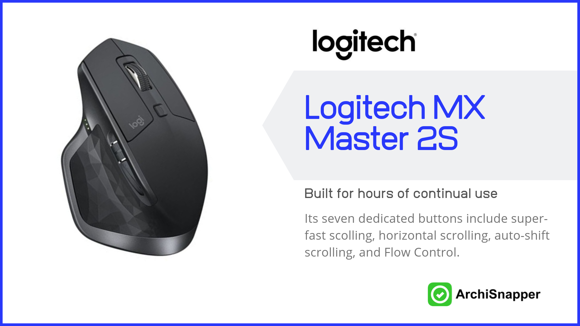 Logitech MX Master 2S | List of the 15 must-have tech tools and accessories ideal for architects presented by Archisnapper