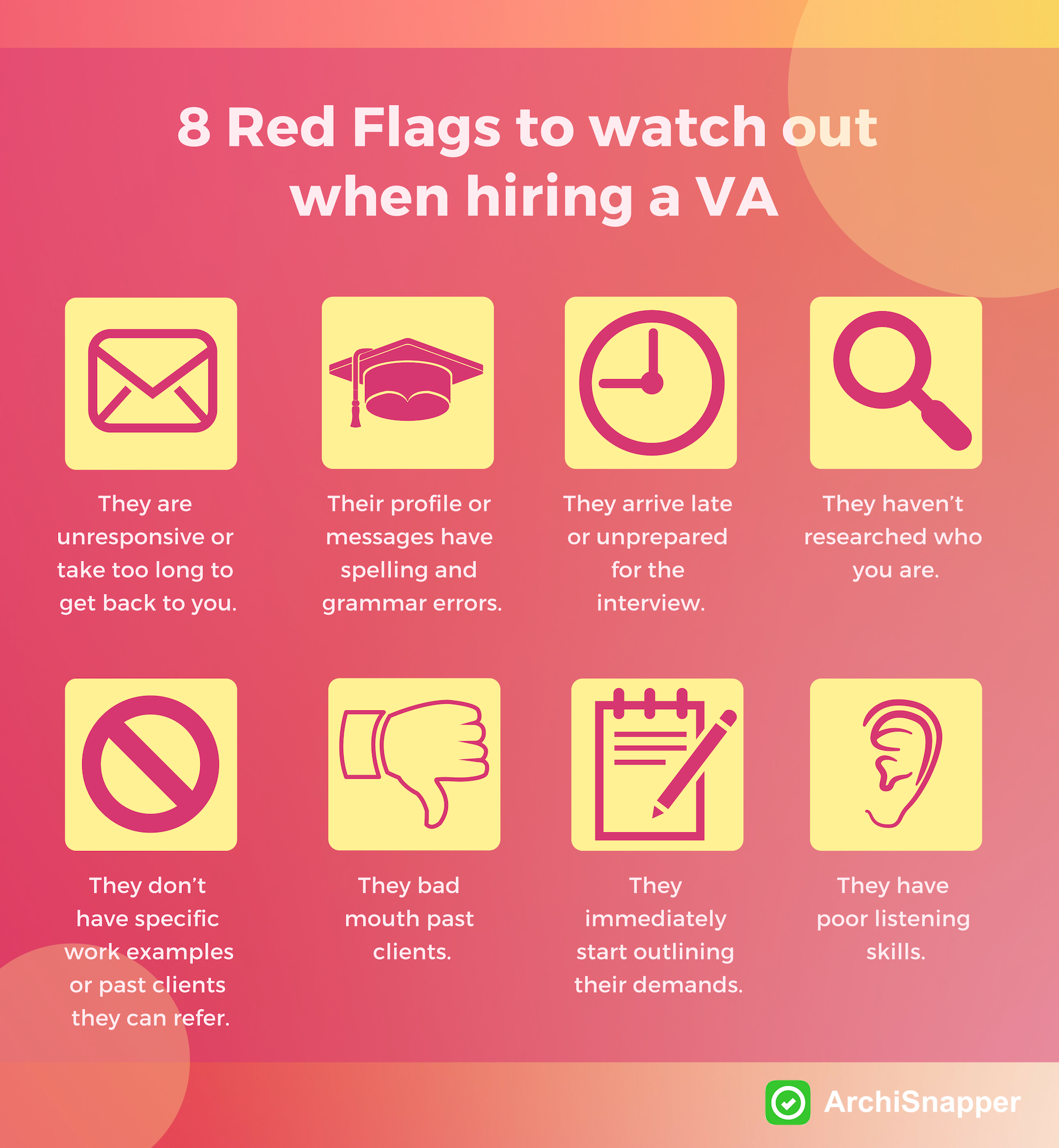 8 Red Flags to watch out when hiring a VA | Archisnapper