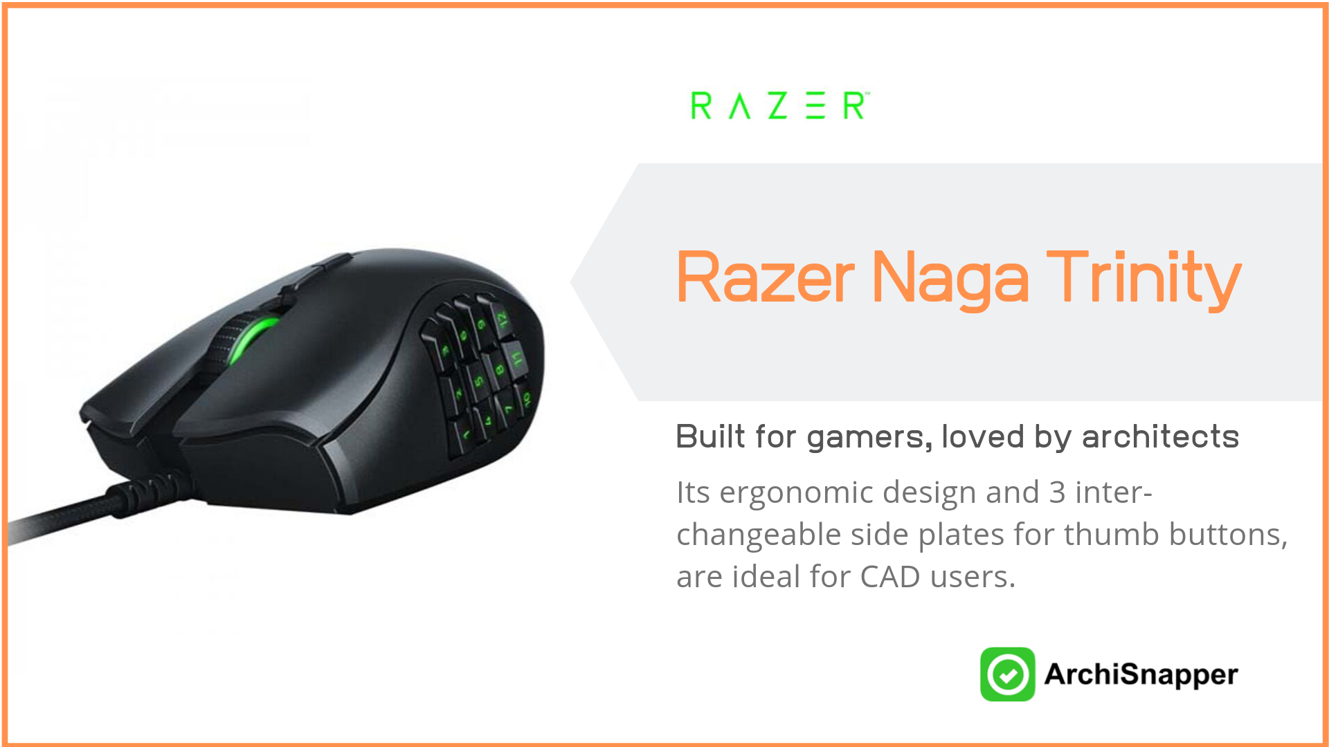 Razer Naga Trinity | List of the 15 must-have tech tools and accessories ideal for architects presented by Archisnapper