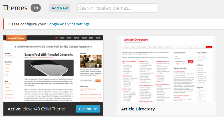 Themes Add New or Search
