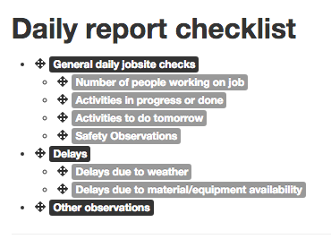example of a daily report checklist (from archisnapper)
