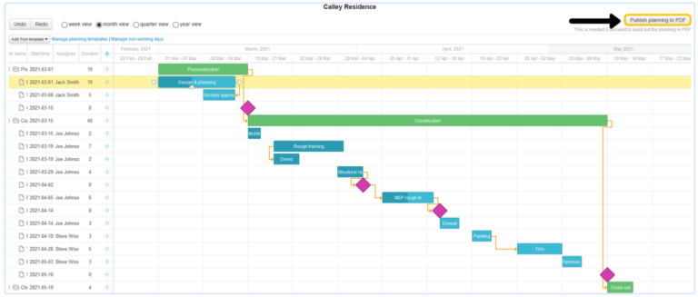 gantt chart software for architects and contractors