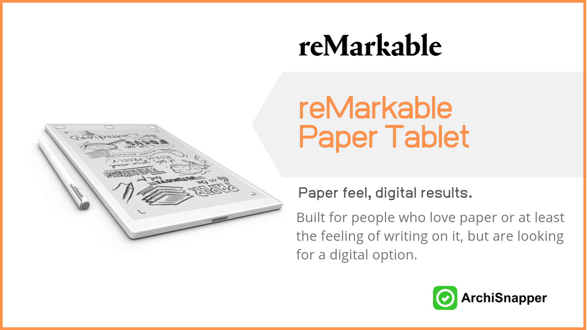 reMarkable paper tablet | List of the 15 must-have tech tools and accessories ideal for architects presented by Archisnapper
