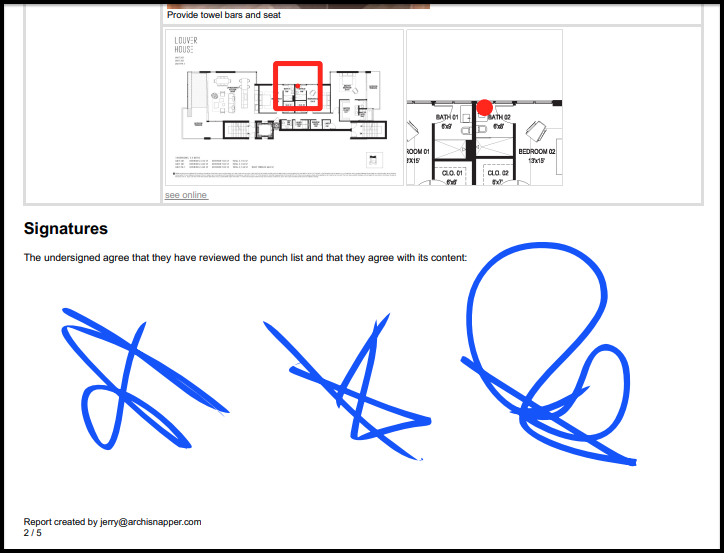 digital signature capture with punch list app archisnapper